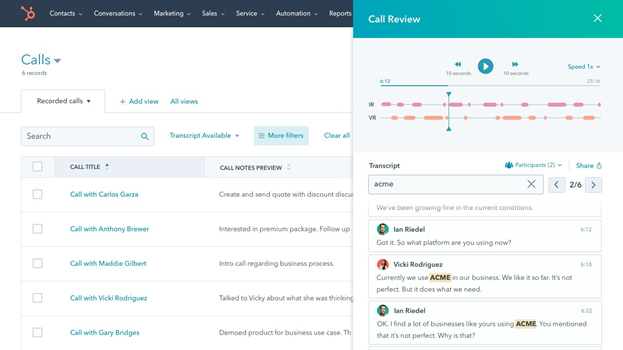 HubSpot conversational intelligence tool example